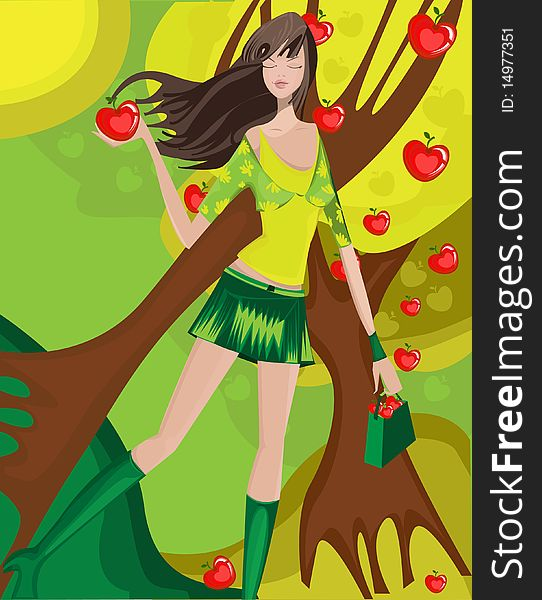 Beautiful girl and apples