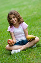 Free Girl With Red Apple And Pear Royalty Free Stock Image - 14985986