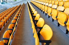 Row Yellow Seat Royalty Free Stock Images