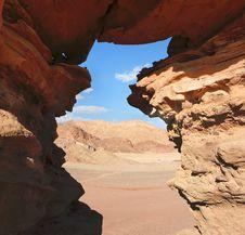 Free Window In The Orange Sandstone Rock In Desert Stock Image - 14983741