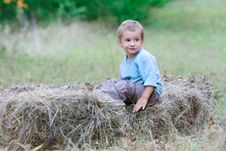 Free Cute Boy In Hay Royalty Free Stock Photography - 14983957