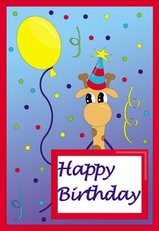Free Happy Birthday Card Giraffe Royalty Free Stock Image - 14984236