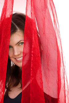 Free Smiling Girl With Red Veil Royalty Free Stock Photography - 14984257