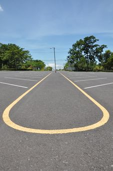 Parking Lane With Blue Sky Royalty Free Stock Photos