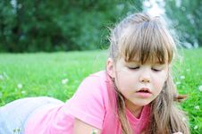 Free Girl In The Grass Royalty Free Stock Image - 14985756