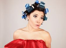 Free Emotional Girl With Hair-curlers On Her Head Royalty Free Stock Photography - 14986087
