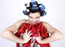 Free Emotional Girl With Hair-curlers On Her Head Stock Photo - 14986100
