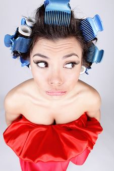 Free Emotional Girl With Hair-curlers On Her Head Stock Images - 14986114