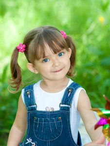 Free Little Girl In Jeans Outdoor  Summertime Stock Images - 14986134