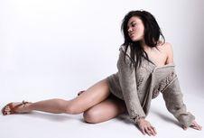 Free Siting Beautiful Brunette In A Woollen Sweater Stock Photo - 14986210