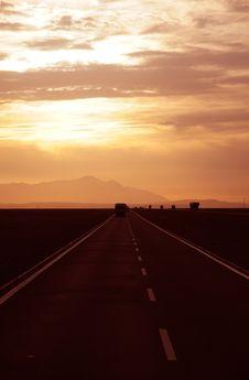 Free Sunset Alsphalt Highway Royalty Free Stock Photos - 14986258