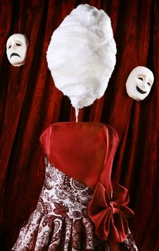 Scarecrow With A Head Of Sweet Cotton Wool. Stock Image