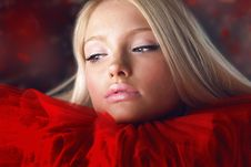 Free Attractive Blond Beauty In Red Theatrical Jabot Royalty Free Stock Photos - 14987258