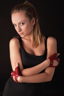 Free Attractive Posing Blonde In A Red Sport Gloves Stock Images - 14987734