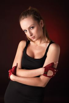 Attractive Posing Blonde In A Red Sport Gloves Stock Photos