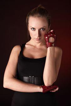 Free Attractive Posing Blonde In A Red Sport Gloves Royalty Free Stock Photo - 14987775