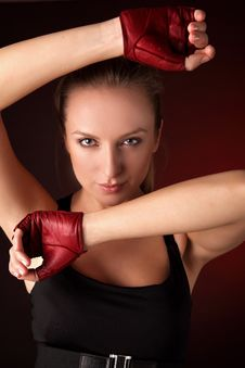Free Attractive Posing Blonde In A Red Sport Gloves Stock Photos - 14987833
