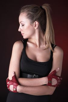 Free Attractive Posing Blonde In A Red Sport Gloves Stock Photos - 14987863