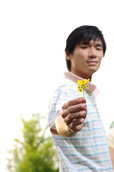 Free Young Asian Man Proposing With Flower Royalty Free Stock Images - 14988559