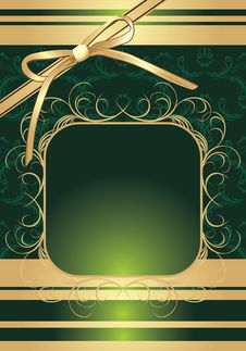 Golden Bow On The Decorative Background Royalty Free Stock Photos