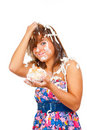 Free Girl Eating Cake With His Hands Stock Image - 14998601
