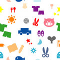 Free Colorful Kid Items Seamless Pattern Royalty Free Stock Image - 14999096