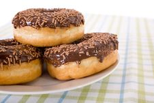 Free Three Donuts On A Plate, Chocolate Glazing Royalty Free Stock Image - 14990626