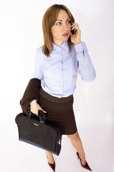 Business Woman Talking On The Cell Phone Stock Photos