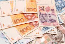 Croatian Kuna Banknotes Layed Out Stock Photo
