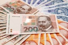Croatian Kuna Banknotes Layed Out Royalty Free Stock Photography