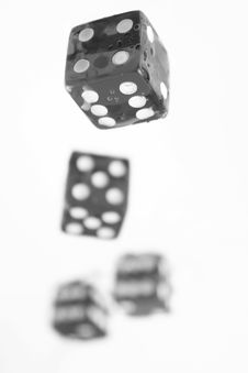 Free Four Black And White Playing Bones Royalty Free Stock Photography - 14993027