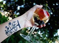 Glass Of White Sangria Stock Photography