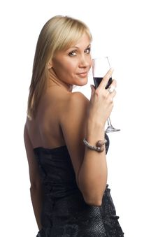 Blonde With Wine Stock Image