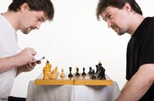 Free Two Men Play A Chess Royalty Free Stock Photos - 14993388