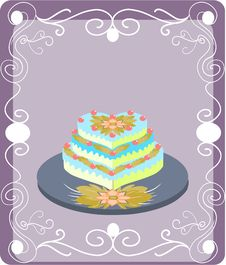 Free Greeting Card With Wedding Cake Royalty Free Stock Photo - 14993725