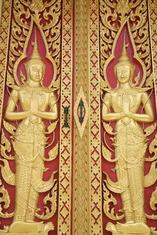 Free Detail Of The Door In Buddhist Temple Stock Photo - 14993740