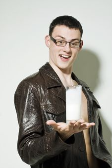 Free Young Man Holding Milk Stock Images - 14994964