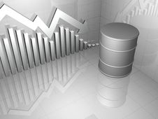 Free Oil Drum With Downward Stock Market Royalty Free Stock Photography - 14995697