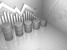Free Stock Market Chart With Five Oil Drums Stock Photo - 14995700