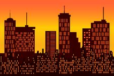 Free Big City Skyline Silhouette Royalty Free Stock Image - 14997396