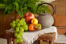 Free Beautiful Still Life Image Of Fruits And Teapot In Royalty Free Stock Images - 14998149