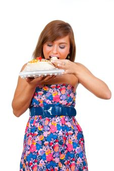 Girl Eat Cake Stock Photo