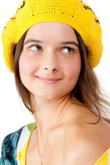 Free Portrait Of A Girl Wearing Yellow Beret. Stock Photo - 14998630