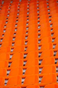 Free Orange Empty Stadium Seats Stock Photography - 14998782