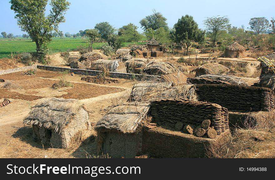 Hut in poor village in  India