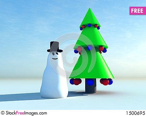 Snowman and Christmas tree 6 Stock Photo