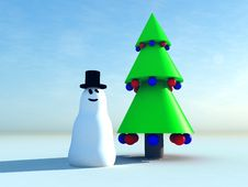 Free Snowman And Christmas Tree 6 Royalty Free Stock Photo - 1500695