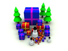 Snowman And Christmas Presents 9 Stock Photos