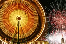 Free Ferris Wheel And Fireworks Royalty Free Stock Photo - 1502235
