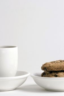 Free Coffee And Stack Of Chocolate Chips Cookies Stock Photos - 1503243